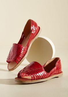 No Truer Words Have Been Woven Flat - You're used to praise over your posh ensembles, but these red peep toes will invite acclaim so genuine, you might just have to wear them every day! With a collection of straps weaving through their toes, sides, and heels, these leather flats are your pair with the most flair.