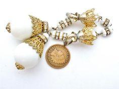 Vintage White Runway Earrings Crystal Rondelle Gorgeous High End Clip Bead Long | eBay