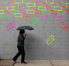 Aakash Nihalani. One of my favorite artists. Awesome stuff with neon tape and geometric patterns.
