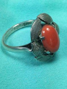 Vintage Sterling Silver Coral Leaf Pattern Ring Size 6.5