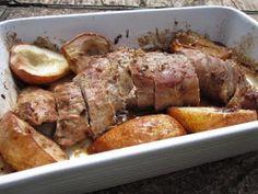 Filé de porco picante com peras assadas!