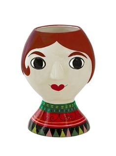 Vase Senora by Ingela P Arrhenius for Kitsch Kitchen. Vase in the shape of a woman's head. Gorgeous gift for grown-ups by Ingela P Arrhenius at The Pippa & Ike Show Love Flowers, Fresh Flowers, Dried Flowers, Kitsch, Vases, Staring At You, Fiery Red, Ceramic Plates, Arches