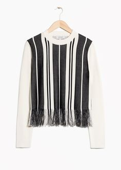& Other Stories image 1 of Striped Fringe Knit  in Black