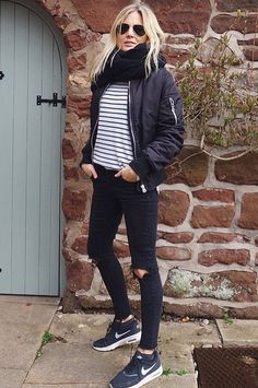 Black Striped Top, Navy/Gray Bomber Jacket, Black Jeans, Black Running Sneakers, Black Infinity Scarf