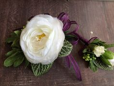 Corsage and Boutonnière - Prom corsage - Wristlet corsage -Ranunculus - White flower- Mother's Day  corsage