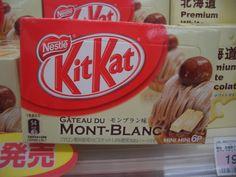 """Gateau du Mont-Blanc flavor Kit Kats. Made with """"marron"""" (chestnut) flavoring."""