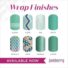 Just wondering... Did you know that Jamberry nail wraps are available in EIGHT different finishes for you to mix and mingle?  My favorites are sparkle, metallic, luster and satin.  What's yours?  What finish do you have the urge to try?