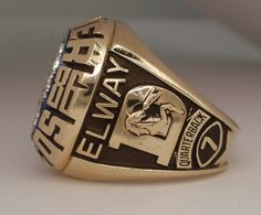 broncos super bowl rings | 1986 Denver Broncos Super Bowl XXI Champions 10K Gold Proto-Type Ring ...