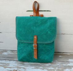Love this jewel tone bag!     Green Waxed Canvas  Mini Backpack  with Adjustable by ottobags, $69.00