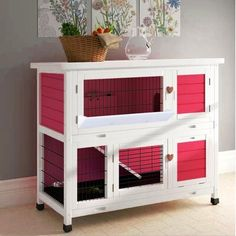 Shop for Lovupet 2 Story Outdoor Wooden Rabbit Hutch Chicken Coop Bunny Cage Guinea Pig House with Ladder for Small Animals. Get free delivery On EVERYTHING* Overstock - Your Online Chicken Supplies Store! Diy Guinea Pig Cage, Guinea Pig Hutch, Guinea Pig House, Guinea Pigs, Rabbit Hutch Indoor, Indoor Rabbit Cages, Rabbit Cage Diy, Pet Rabbit, Small Animal Cage