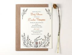 10 Personalized Invitations Rabbit and Lily of the Valley