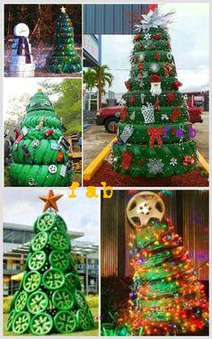 DIY Christmas Tire Decoration Ideas-DIY Tire Christmas Tree Tutorial