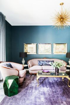 This room combines both Colors of the Year - Blue-green Oceanside from Sherwin-Williams and purple Ultra Violet from Pantone. #COTY #decor #trends