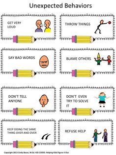 Expected vs. Unexpected Behavior When Having A Problem The concept in this activity is adapted from the work of Michelle Garcia-Winner, SLP. It explicitly teaches the ever important concept of Expected vs. Unexpected behavior, this time, when you are having a problem. Children enjoy making this behavior chart and also discussing the scenario cards and doing role plays. Read the social story either before or after the lesson or as needed with individual students.