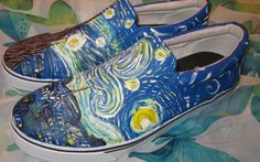 Custom painted starry starry night Men's by CustomPaintedShoes, Etsy