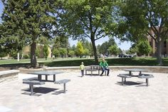 Metal Picnic Tables, Picnic Table Bench, College Campus, Stainless Steel Material, Metal Furniture, Patio, Landscape, Outdoor Decor, Popular