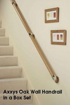 Oak Wall Handrail in a Box Set Chrome