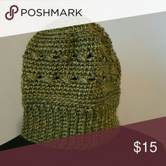 Olive green hat Original crocheted hat.  Hand wash. Hand made by Susie Accessories Hats
