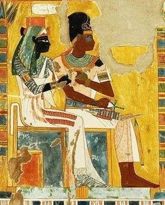 Great Royal Queen Nefertari and Nesi (Pharaoh) Ahmes I (Ahmose I), 18th Dynasty, New Kingdom. AS 'GREAT ROYAL QUEEN' THE ROYAL LINE WAS TRACED THROUGH HER).
