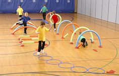 A preschool obstacle course that combines fun and fitness with many included parts for variety, differentiation and development of gross motor skills.
