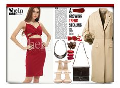 """""""Shein, burgundy dress"""" by sombre-lune ❤ liked on Polyvore featuring Givenchy, Giuseppe Zanotti, IIIBeCa and NARS Cosmetics"""