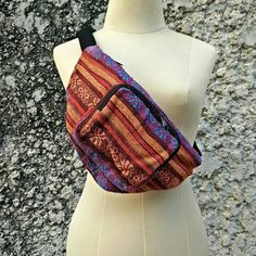 Fanny pack festival tribal Boho bum bag Hobo Styles belt belly Pouch Travel phanny waist bags Ikat Hippies Gypsy Bohemian beach in Orange