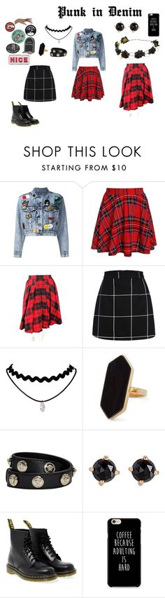"""Punk in Denim"" by kingkittykat123 ❤ liked on Polyvore featuring Alice + Olivia, D&G, Jaeger, Versace, Irene Neuwirth and Dr. Martens"