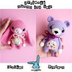 2 Freunde - Rosa Hase und Lavendel Bär. Amigurumi Häkeln Muster. 2 in 1. DIY handgemachte Spielzeug.