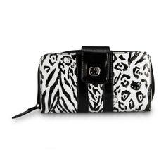 Hello Kitty Black/White Leopard Embossed Wallet