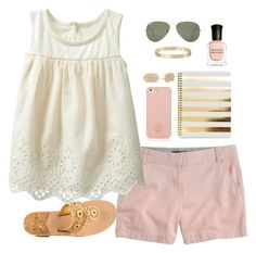 """""""hs tour and meeting new neighbors // day 232"""" by littlebitofeverything ❤ liked on Polyvore featuring J.Crew, Tory Burch, Jack Rogers, Gap, Kendra Scott, Deborah Lippmann, Ray-Ban, Cartier, women's clothing and women's fashion"""