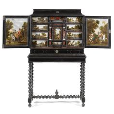 Antwerp School, 17th Century. An ebony, ivory, tortoiseshell, painted and ebonised cabinet on a stand. open: 185 by 171 by 77.8 cm, closed: 155 by 92 by 41.8 cm.;