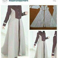 New dress pattern sewing women tutorials Ideas Long Dress Patterns, Tunic Sewing Patterns, Clothing Patterns, Pattern Sewing, Batik Fashion, Fashion Sewing, Diy Fashion, Modern Hijab Fashion, Abaya Fashion
