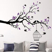 Tree Branch Wall Art Sticker with Bird Cage Removable Vinyl Wall Decals Wall Stickers for Living Room Home Office Decor Tree Wall Painting, Simple Wall Paintings, Metal Tree Wall Art, Bird Wall Art, Mural Wall Art, Vinyl Wall Art, Home Decor Wall Art, Wall Painting For Hall, Tree On Wall