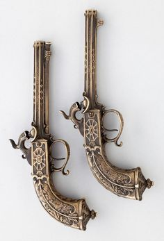 .22 Caliber French Percussion Boxlock pistols. Early to mid 19th century.