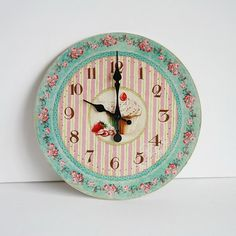 Wall Wooden Clock Vintage Style Cup Cake Design by maamoon on Etsy.