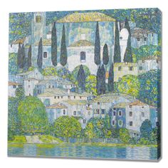 Church in Cassone Painting Print on Wrapped Canvas