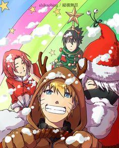 team 7 christmas naruto santa kakashi tree sasuke and sakura - Naruto Christmas