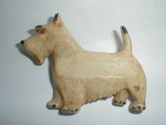 "ANTIQUE LARGE BAKELITE/ CELLULOID SCOTTIE DOG PIN 2 3/4"" SODA SHOP NAME TAG!"