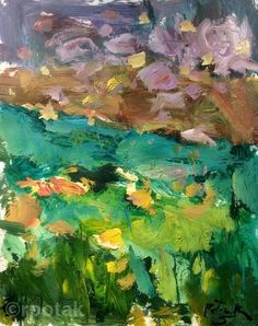 Meadow Yellow Berkshire Landscape Painting expressive loose
