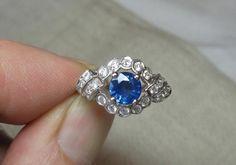 Sapphire Diamond Platinum Wedding Engagement Ring Appraised $6027 Spectacular!  | eBay