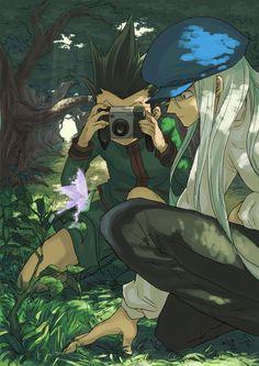 Tags: Anime, Pixiv Id 13667631, Hunter x Hunter, Gon Freaks, Kite (Hunter x Hunter), Nature, Green Outfit