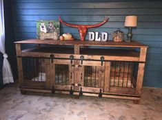 Pets Home : Rustic Dog Den Furniture with Storage/Entertainment Shelves Dog Crate Furniture, Den Furniture, Entertainment Shelves, Entertainment Center, Diy Dog Kennel, Dog Kennels, Diy Dog Crate, Dog Rooms, Reno