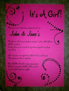 Pink and Black Baby Shower Invitation by JS Event Creations, LLC on Etsy, $1.85