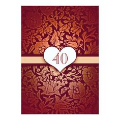 Shop 40 wedding anniversary damask red vintage invites created by jinaiji. Personalize it with photos & text or purchase as is! Vintage Wedding Invitations, Elegant Invitations, Zazzle Invitations, Invites, Wedding Anniversary Invitations, Golden Wedding Anniversary, Anniversary Ideas, Damask Wedding, Create Your Own Invitations