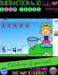 ☀️ Practice Subtraction to 10 using the Take Away strategy with this cute Math set of catching spring Butterflies! ☀️ 45 digital cards hosted on BoomLearning™ platform to to cover all subtraction problems within the 1-10 number range (only subtracting same number and zero are omitted as easier ones) ☀️ Easy to follow directions: read the subtraction sentence, drag and place the requested number of butterflies into the net to visualize the problem, count and type in how many are left. Reading Resources, Math Resources, Following Directions, Elementary Math, Student Work, Classroom Management, Second Grade, Social Studies, Sentences