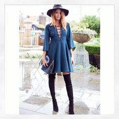 Today is definitely hat weather! This is how I am wearing mine with my lace up teal dress and @randbprgirl boots @milliemackintoshclothing #millieaw15 Millie offering some British weather inspo on a rainy day