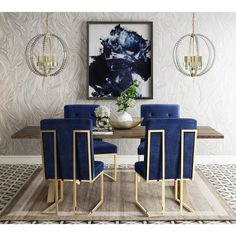 These dining chairs really stand out, in the best way. --TOV Furniture Modern Akiko Navy Velvet Chair (Set of Solid Wood Dining Set, Modern Dining Table, Dining Room Sets, Dining Chair Set, Dining Room Design, Dining Tables, Blue Dining Room Chairs, Elegant Dining Room, Lounge Chairs