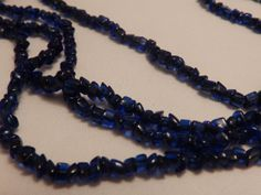 Vintage Dark Blue Glass Bead Necklace Long by TheJewelryCabinet, $25.00