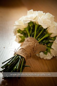 burlap wrapped bouquet, vintage wedding decor @Norma Johnson McWhorter @Bobbie Mitchell Hampton @Honey Bunch Lasalle