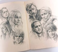 Game of Thrones GoT. Portrait Drawings and one Celebrity Group. By Polina Ishkhanova.